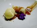 Dessert : glace au romarin, caramel au céleri et mousse à la pomme