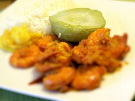 Chouchous servis avec un rougail crevettes