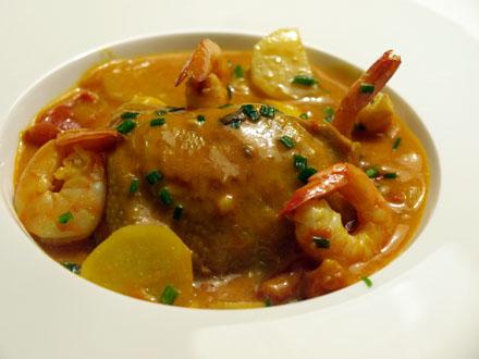 Poulet crevettes sauce coco