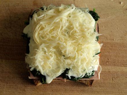Tartine fromage râpé