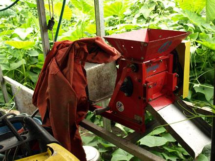 Les cerises de café sont dépulpées à l'aide de cette machine © Christelle Vogel