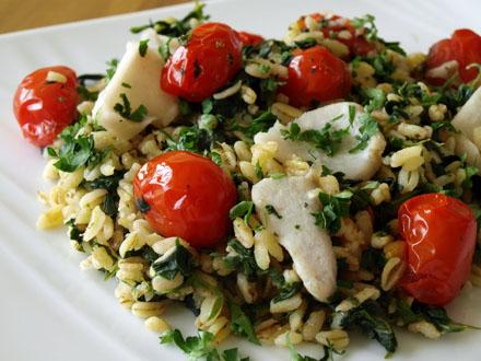 Poêlée de ébly aux épinards et aux tomates cerise