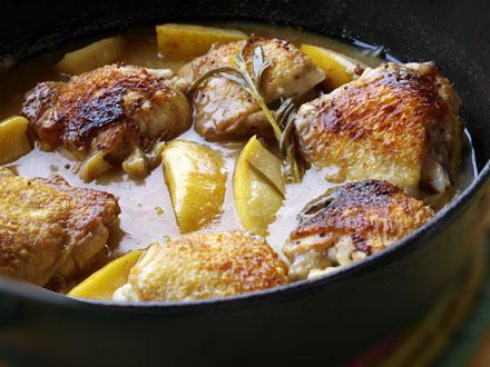 Poulet au cidre et au romarin