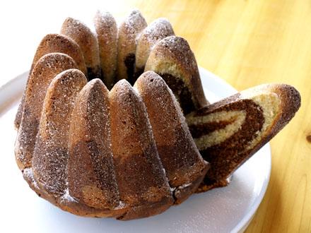 Gâteau marbré tranché
