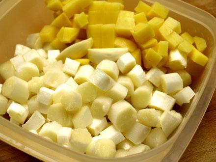 Asperges blanches et pomme de terre en dés