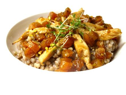 Poêlée de sarrasin au poulet, abricot, sauce soja (sans gluten)