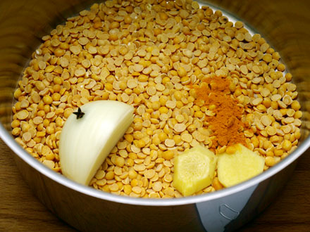 Lentilles jaunes avant cuisson