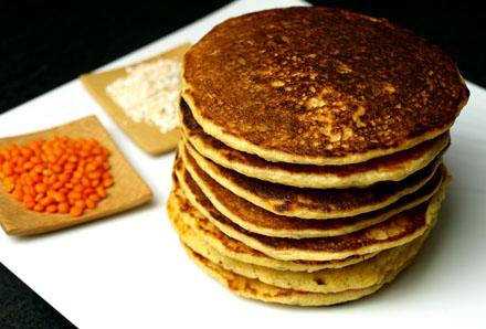 Pancake son d'avoine et lentilles