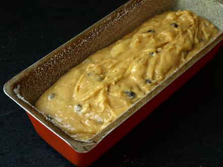 Cake banane cacahuètes avant cuisson