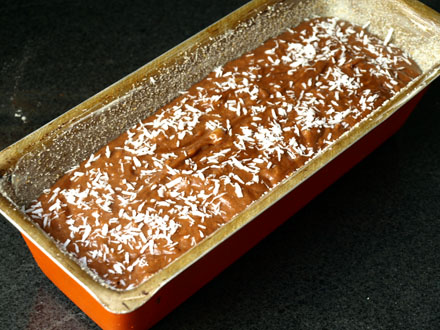Cake banane, chocolat, coco avant cuisson