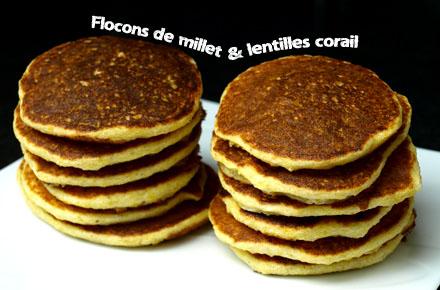 Pancakes sans gluten au millet et lentilles corail