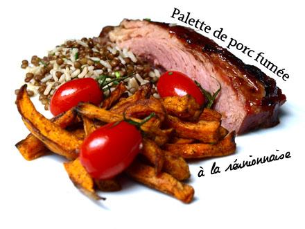 Palette de porc fumée dressée dans l'assiette