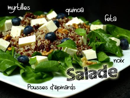 Salade quinoa, feta, pousses d'épinards et myrtilles