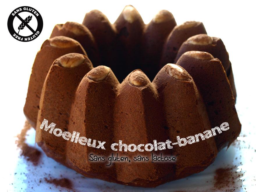 Moelleux au chocolat et à la banane, sans gluten, sans lactose