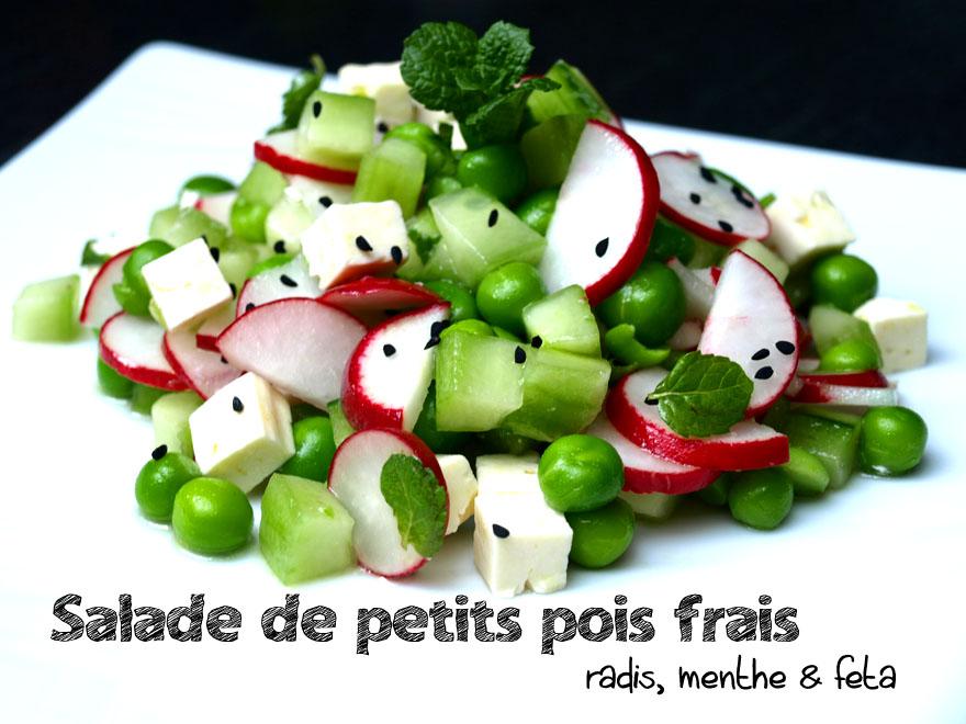 Salade de petits pois frais aux radis, menthe fraîche et feta