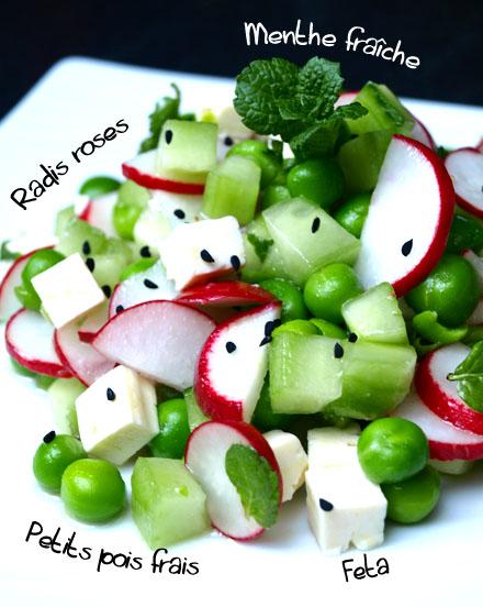 Salade de petits pois frais, radis roses, menthe fraîche & feta