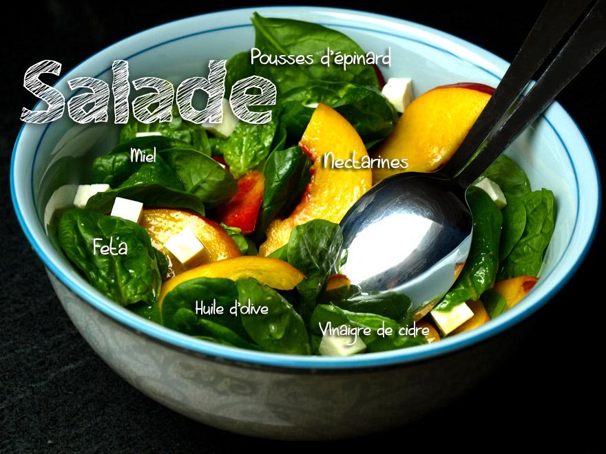 Salade de pousses d'épinard à la nectartine et feta
