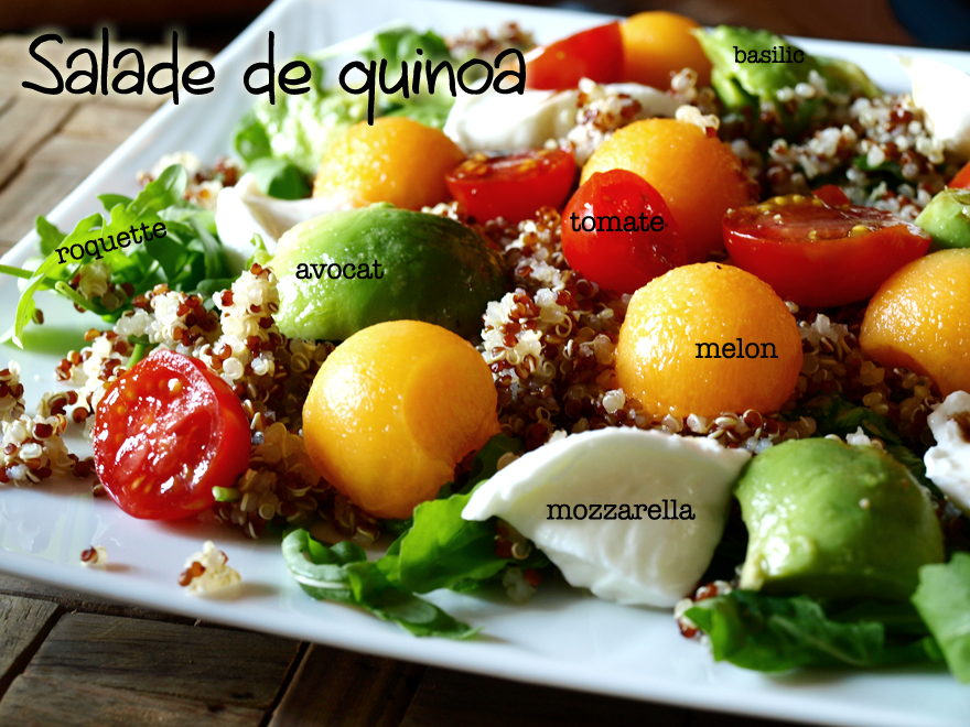 Salade de quinoa, avocat, melon et roquette