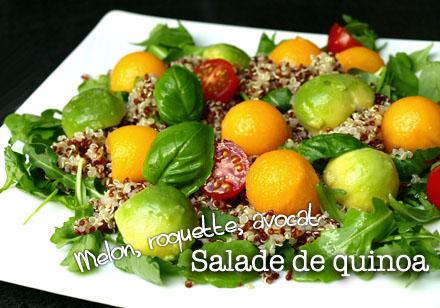 Salade de quinoa à la roquette, melon et avocat