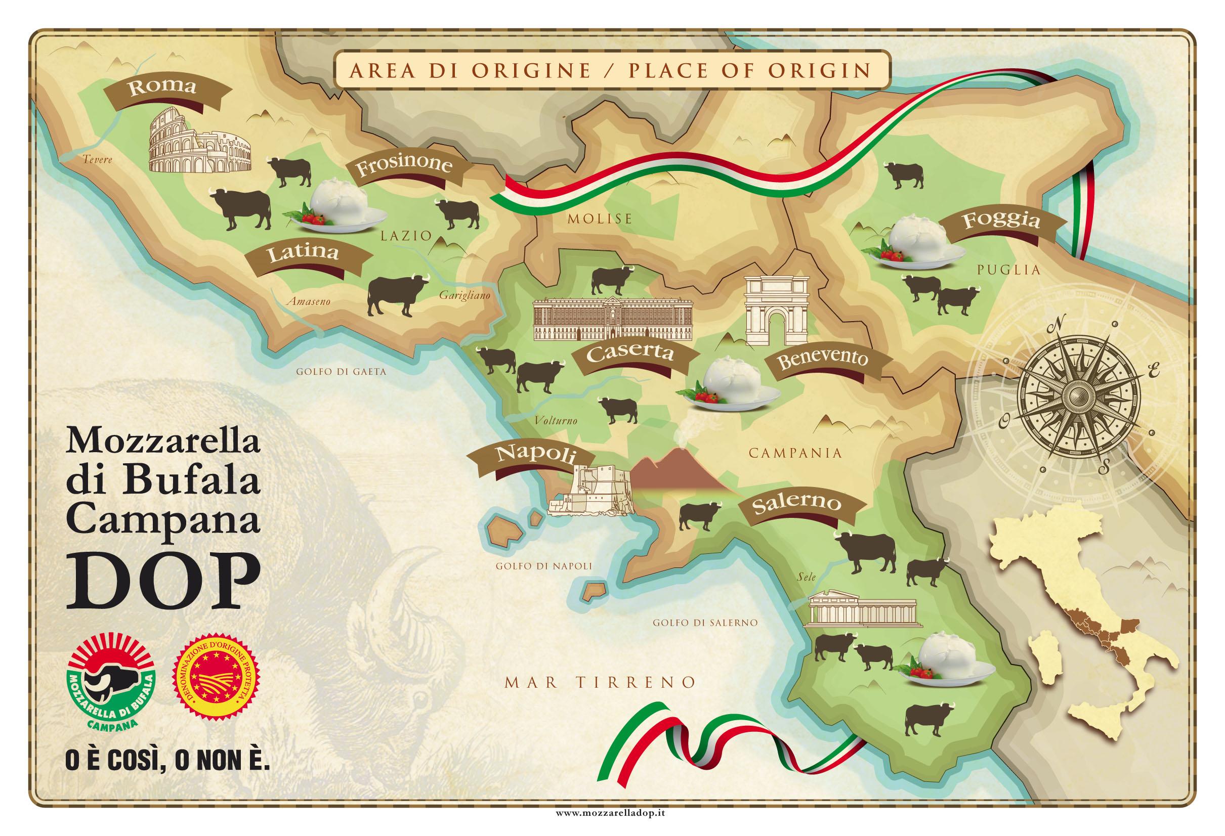 Zones de production de la mozzarella di bufala AOP