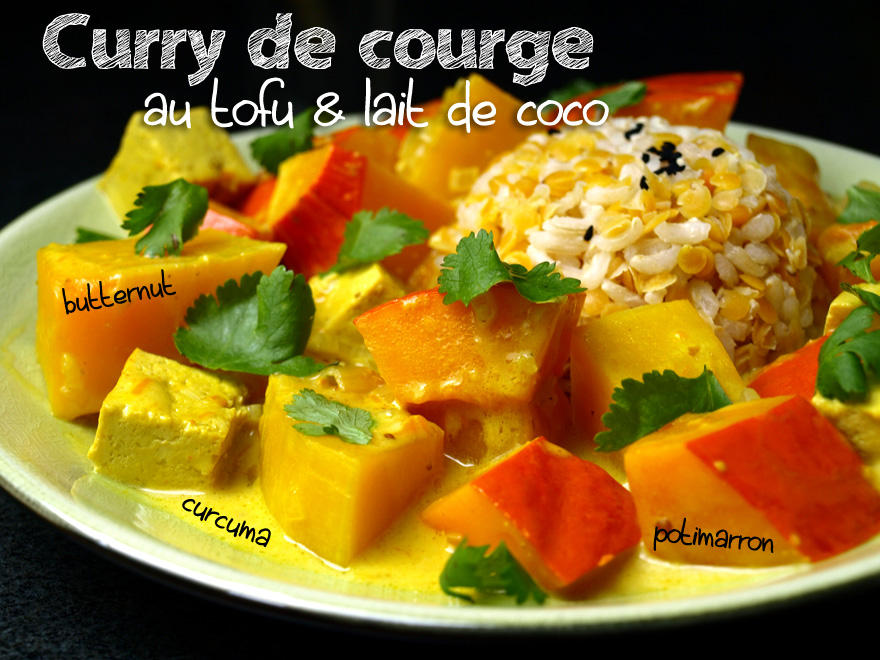 Curry de courge au tofu et lait de coco