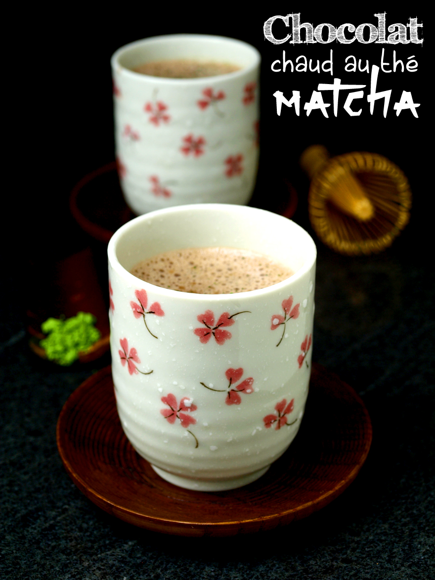 Hot dairyfree chocolate with matcha tea