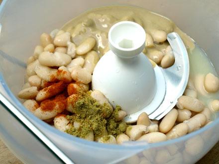 Ingrédients du houmous de haricots blancs