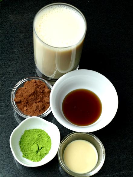 Ingrédients du chocolat chaud au thé matcha