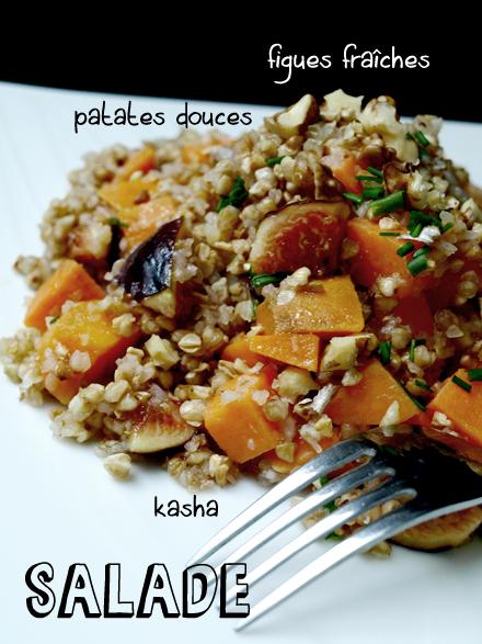 Salade de kasha (sarrasin grillé) aux figues fraîches et patates douces