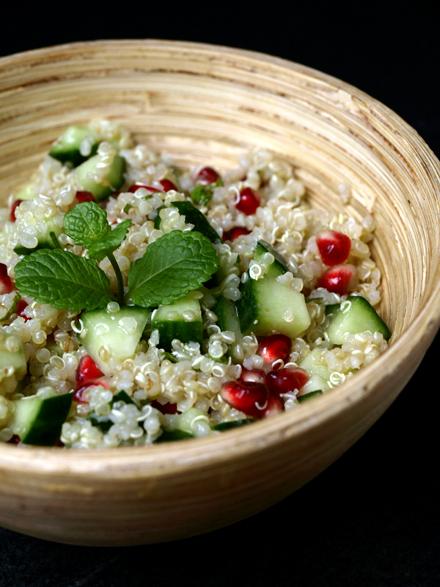 Taboulé de quinoa, concombre et grenade