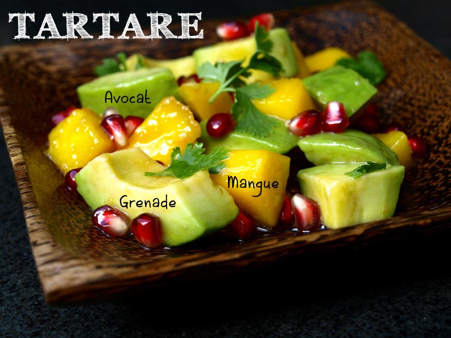 Salade d'avocat, à la mangue et grenade