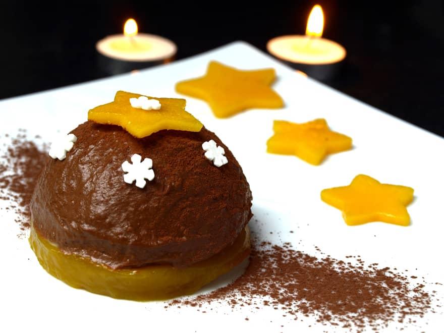 Bûche de Noël au chocolat sans gluten, sans beurre, sans oeuf (vegan)