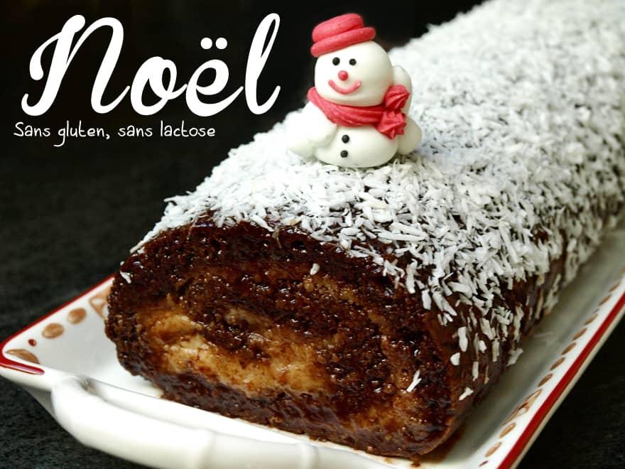Bûche de Noël sans gluten, sans lactose (poire-amande-chocolat)