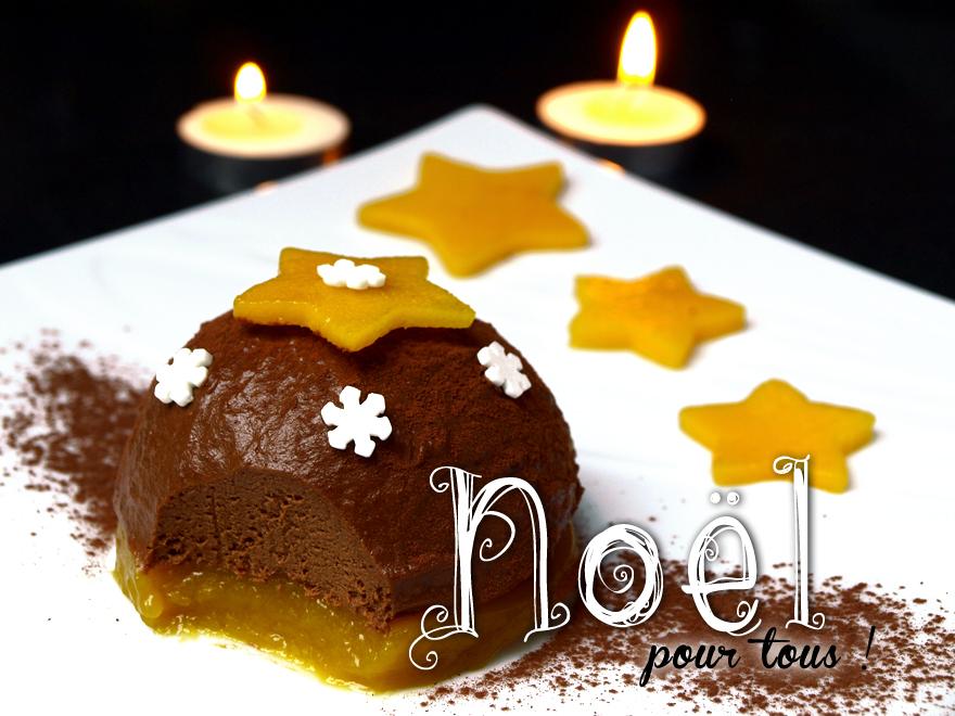 Bûche de Noël sans gluten, sans lait, sans oeuf (chocolat-mangue)