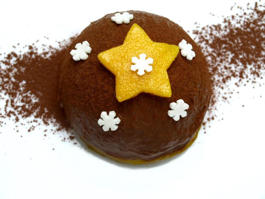Bûche de Noël sans gluten, sans beurre, sans oeuf (saveur chocolat-mangue)