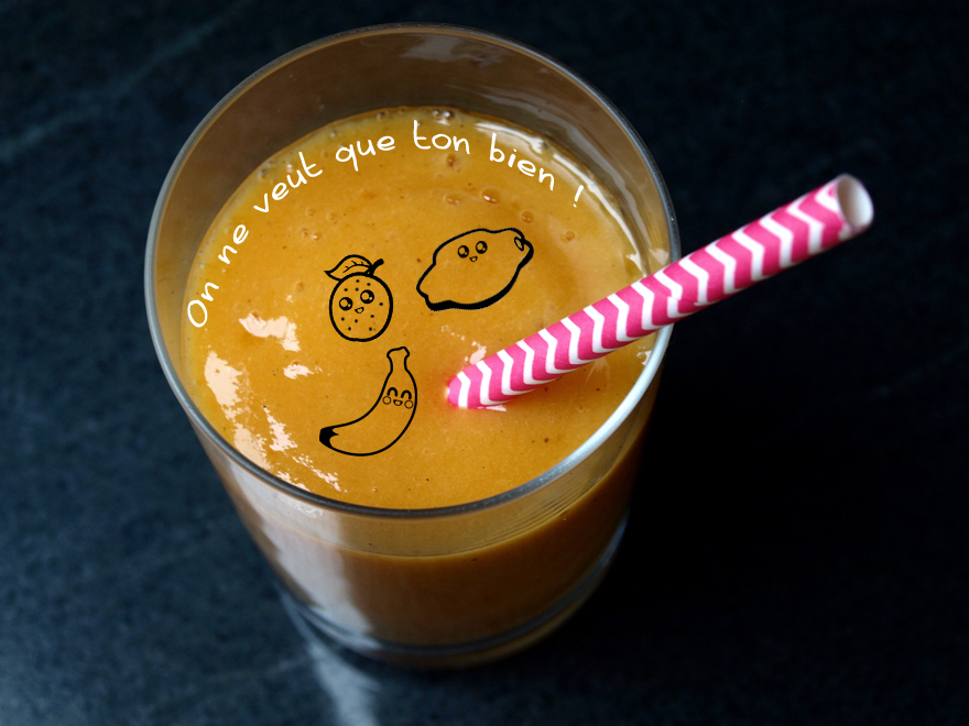 Smoothie banane-orange-papaye