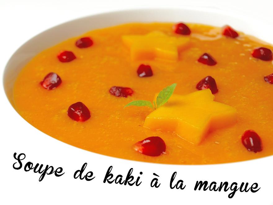Soupe de kaki à la mangue, grenade et jus de clémentine