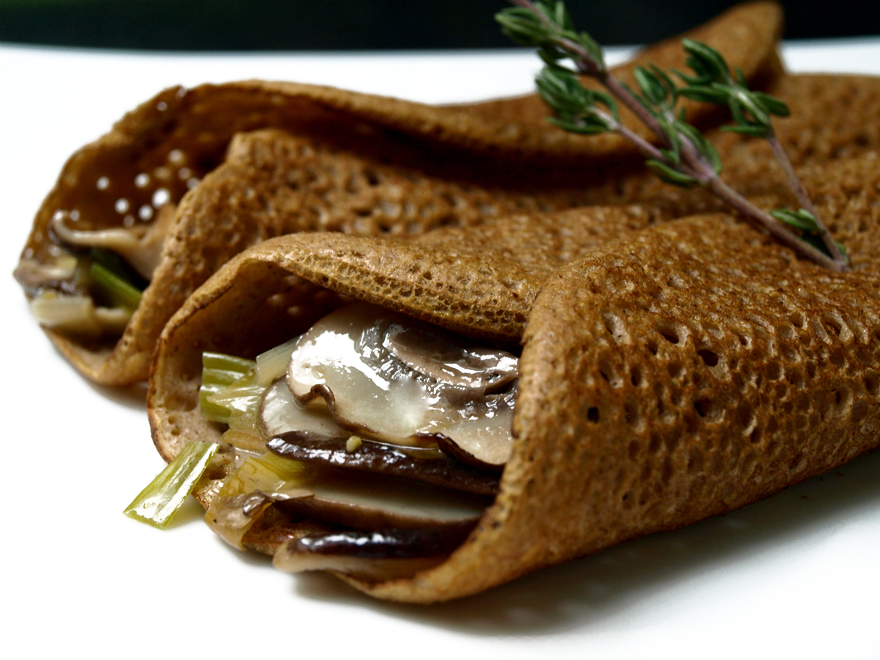 Crêpes sans gluten (shiitake-poireau)