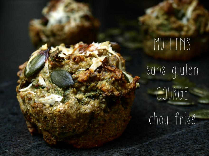 Muffins salés sans gluten aux graines de courge et chou frisé kale