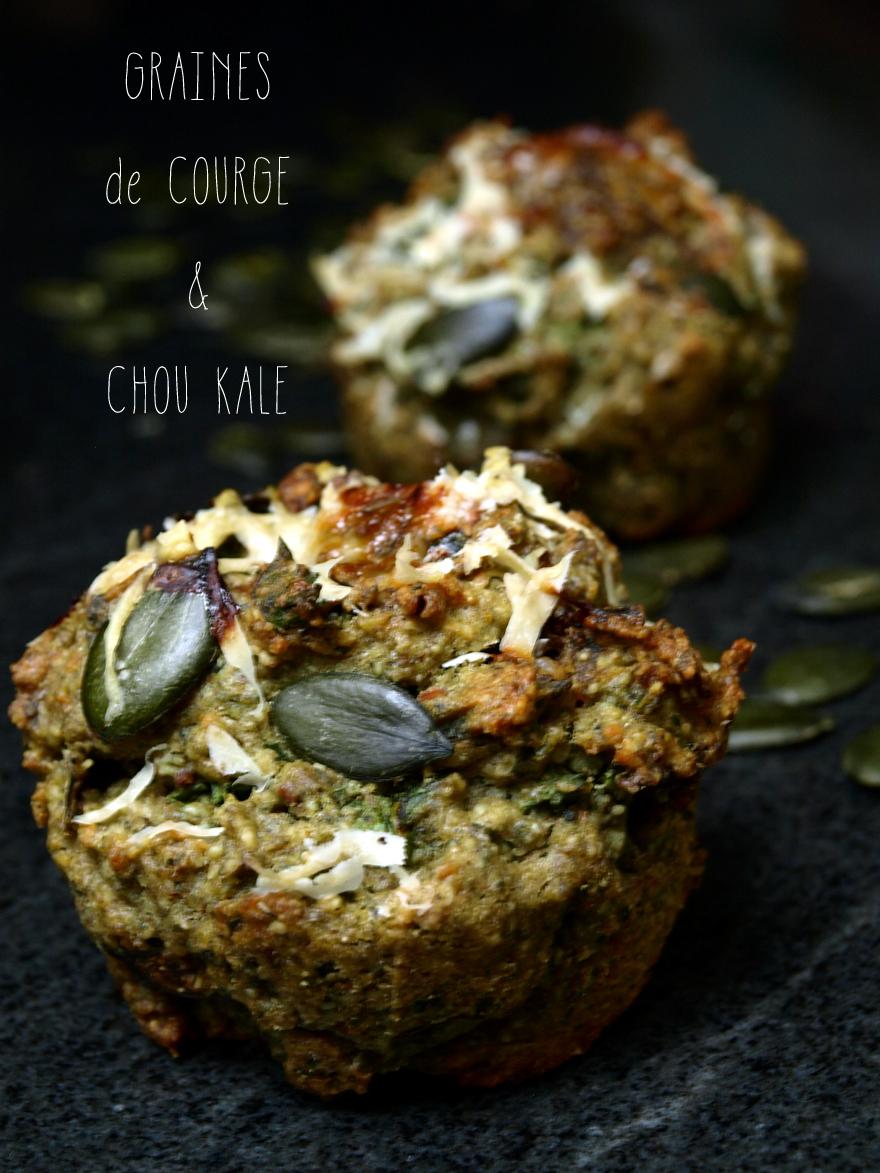 Muffins sans gluten aux graines de courge et chou kale