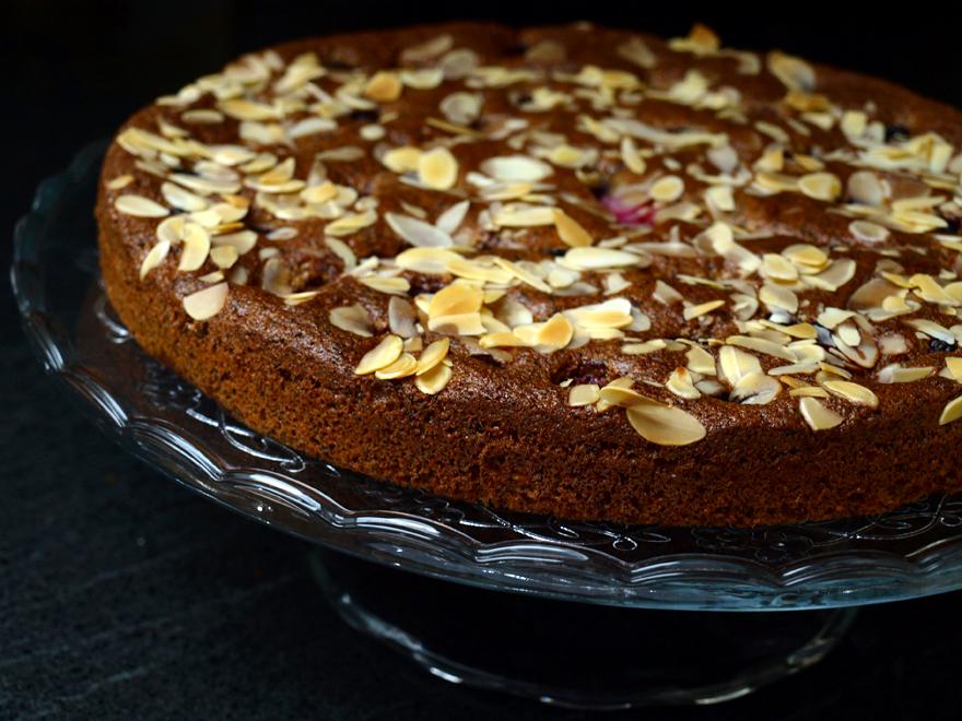 Gâteau amande, pavot et fruits rouges (sans gluten, sans lactose)