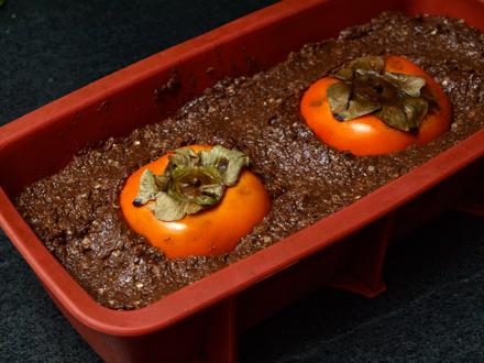 Gâteau chocolat-quinoa-kaki avant cuisson