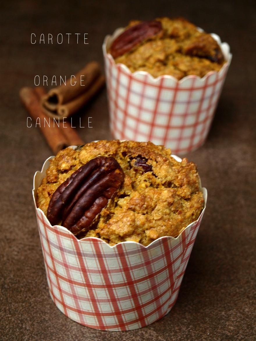 Muffins sans gluten carotte, orange et cannelle