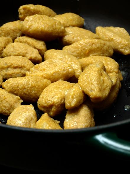 Quenelles sans gluten cuites et égouttées