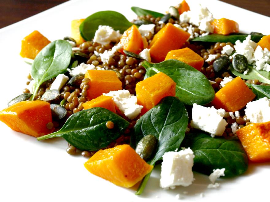 Salade de lentilles à la feta et courge butternut