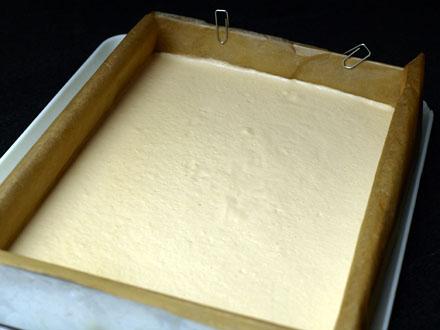 Bavarois citron & chocolat blanc avant démoulage