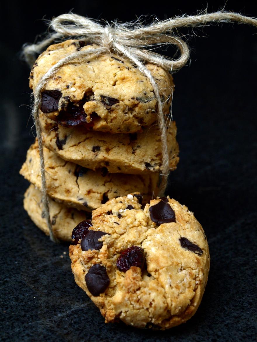 Cookies sans gluten (cacao & cranberries)