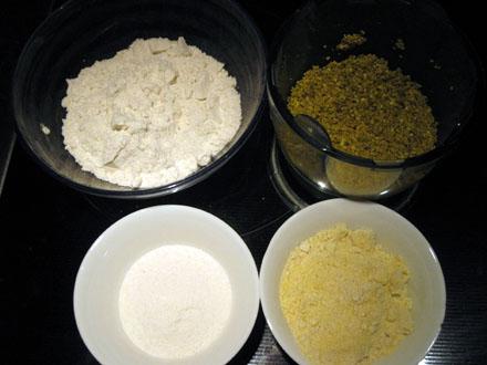 Ingrédients pour la base sablée à la pistache (sans gluten)