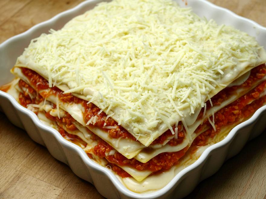 Lasagnes veggie, sans gluten, sans lactose, avant cuisson
