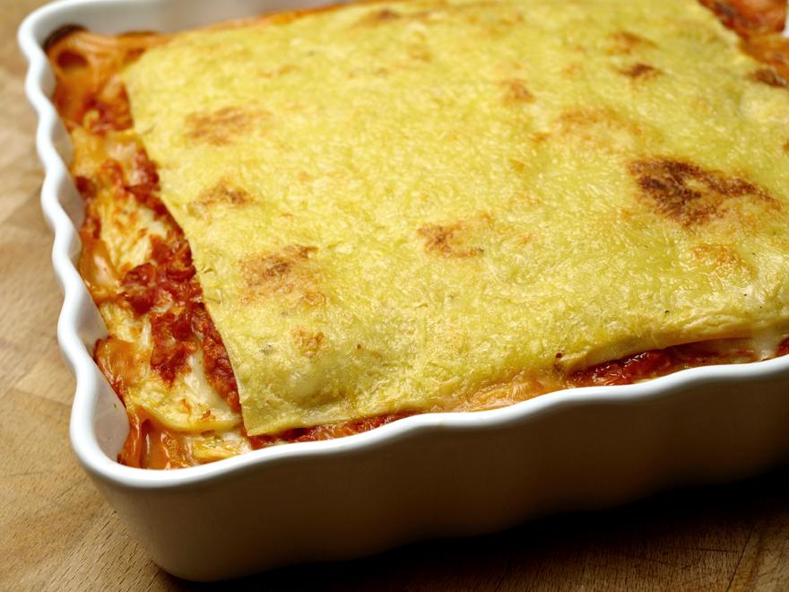 Lasagnes sans gluten, sans lactose, à la sortie du four